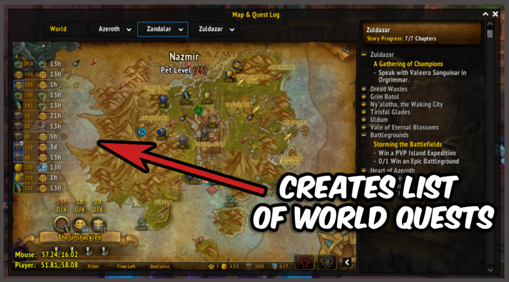 World Quest Tracker creates a list of world quest to follow