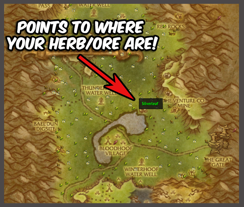 Gather points to where your herb or ore are located